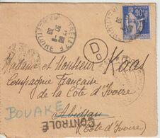 France 1939 Lettre De Trelazé (49) Pour La Cote D'Ivoire - Postmark Collection (Covers)