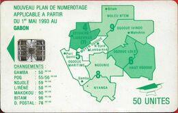 Gabon - OPT (Chip) - Map Of Gabon (Green) - 50Units, SC7, With Moreno, Cn. C351xxxxx Embossed Red, Used - Gabun