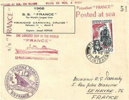 Paquebot FRANCE. Croisière Carnaval De Trinidad. Timbre N° 1461 Obl. Trinidad Le 22 Fév. 1966 - Altri