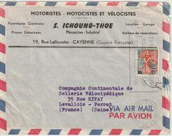 France 1963  De Cayenne Guyane Pour La France Entete Moto Vélo - 1961-....