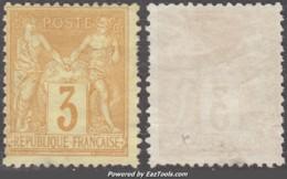 3c Sage Bistre-jaune Neuf (*) Sans Gomme Aspect TB (Y&T N° 86, Cote +++€) - 1876-1898 Sage (Type II)