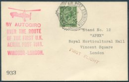 1934 GB APEX London Air Post Exhibition, Autogiro First Flight Postcard - Covers & Documents