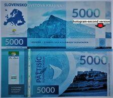 04. SLOVAKIA-FANTASY Banknote Slovak European Gems SPISSKY HRAD (UNESCO) 5000 Sk No 1 From 10 UNC 200 Pcs 01/2020 - Slovacchia