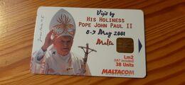 Phonecard Malta - Pope John Paul II. - Malta