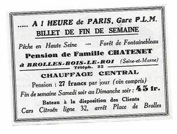 PUB 1936 Pension Pêche Chatenet Brolles Bois Le Roi Seine Et Marne 77 - Publicités