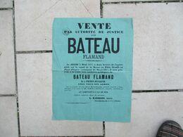 MAXEVILLE LE 3 MAI 1877 SUR LE CANAL DE LA MARNE AU RHIN VENTE D'UN BATEAU FLAMAND DIT LE PETIT-EUGENE 40cm/30cm - Plakate