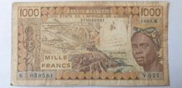 Etats De L'Afrique De L'Ouest, 1000 Francs, Lettre K, 1990 - West African States