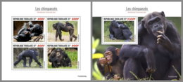 TOGO 2020 MNH Chimpanzees Schimpansen Chimpanzes M/S+S/S - OFFICIAL ISSUE - DHQ2036 - Monkeys
