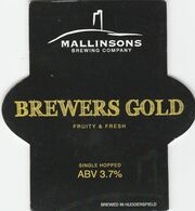 MALLINSONS BREWING COMPANY  (HUDDERSFIELD, ENGLAND) - BREWERS GOLD - PUMP CLIP FRONT - Uithangborden