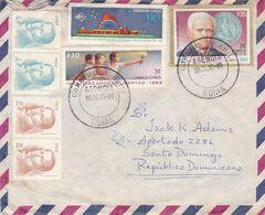 CHILI ENVELOPPE. CIRCULEE ANNEE 1985, ROMA A SANTO DOMINGO, REPUBLIQUE DOMINICAINE. PAR AVION -LILHU - Chile