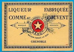 """Etiquette V.F. & Cie Grande Fabrique De Liqueurs 38 GRENOBLE """"Liqueur Fabriquée Comme Au Couvent"""" Etoile - Labels"""
