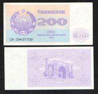 UZBEKISTAN  200 SUM 1992 UNC - Oezbekistan