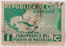 1936-369 CUBA REPUBLICA 1936 ZONA FRANCA MATANZAS PERFINS CITY BANK DEFECTOS AL REVERSO. - Oblitérés