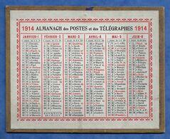Calendrier Almanach Des Postes Et Télégraphes 1914 Format Poche 12 Cm/10 Cm Parfait Etat - Petit Format : 1901-20