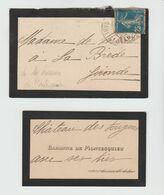 MONTESQUIEU Baronne De / Cte Vte à Mme De VERTEUIL Du Château De Fougères 1920 - Visiting Cards