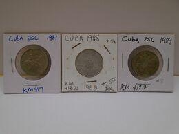 Cuba, (3),0.25 Centavos 1981, 1988,1989, INTUR ,aUNC, XF. Gracias Por Visitar Mi Pagina. - Cuba