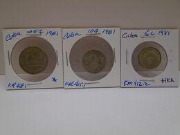 Cuba, (3),0.05, 0.10,0.25 Centavos 1981, INTUR ,aUNC, XF. Gracias Por Visitar Mi Pagina. - Cuba