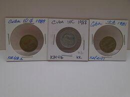 Cuba, (3),0.10 Centavos 1981, 1988,1989, INTUR ,aUNC, XF. Gracias Por Visitar Mi Pagina. - Cuba