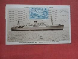 The Union Castle Lime  Dunnottar Castle    Stamp On Front & Back     Ref 4344 - Passagiersschepen