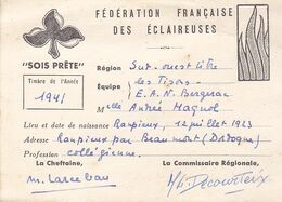 FEDERATION FRANCAISE DES ECLAIREUSES EQUIPE  LES TISONS E A N BERGERAC  ANNNEE 1941 - Pfadfinder-Bewegung