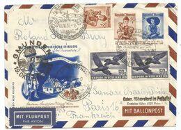AUSTRIA ENTIER COVER BALLON GMUNDEN  + 60 G PAIRE BAD AUSSEE 06.10.1952 TO FRANCE - 1945-.... 2a Repubblica