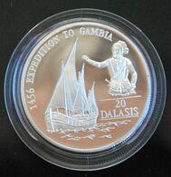 Gambia Silver 20 Dalasi 1993 KM-34. Expedition To Gambia. Sailing Ship. PROOF - Gambia