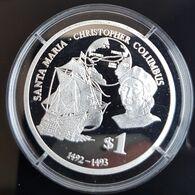 """Fiji Silver 1 Dollar 2010. Christopher Columbus & Sailing Ship """"Santa Maria"""". PROOF. - Fiji"""