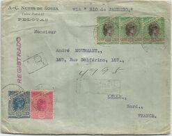 BRASIL  300 REISX3+200R+100R LETTRE COVER REG AR PELOTAS 1903 TO FRANCE VIA RIO DE JANEIRO - Brasile