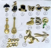 Lot De 15 Pin's Bijou Doré Sertie De Strass Diamant - Altri
