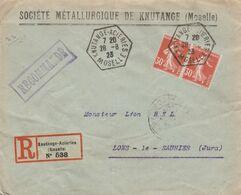 PAIRE SEMEUSE 30C YT 160 SUR LR KNUTANGE - ACIERIES MOSELLE CAD RECETTE AUXILIAIRE 28/8/1923 POUR LONS LE SAUNIER JURA/ - 1921-1960: Modern Tijdperk