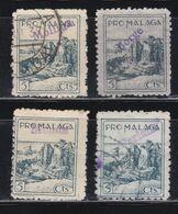 4 VIÑETAS PRO-MALAGA SOBRECARGAS: MOLLINA (114/248)-BORGE (71/207)-MONDA (115/249) - PERIANA ( 122-256)- ALGUNA ESCASA - Viñetas De La Guerra Civil