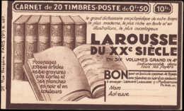 FRANCE Carnets ** 283-C67, Série 407: 50c. Paix Type III, Tétra-Hahn-Blédine-Blédine LAROUSSE, ÉCOLE UNIVERSELLE - Definitives