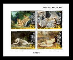 CAR 2020 Mih. 9607/10 Nude Painting. Boucher. Gervex. Bouguereau. Renoir (M/S) MNH ** - Centraal-Afrikaanse Republiek