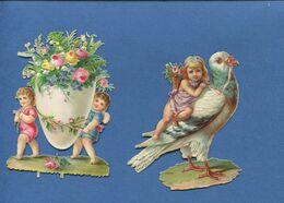 Joli Chromo Découpis  Angelot Oeuf Fleurs Pigeon  9 Cm - Angels