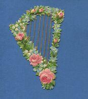 Joli Chromo Découpis  Instrument Musique Fleurs Harpe  Roses Muguet Myosotis  12 Cm - Other