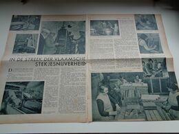 "Origineel Knipsel ( 2628 ) Uit Tijdschrift ""  De Stad "" 1936 : Stekjes  Lucifer  Stekjesnijverheid Geraardsbergen Ninove - Unclassified"