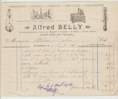 St EMILION: A. BELLY, Inventeur Breveté, Ferblanterie, Lampisterie, S / Fact. De 1913 - Old Professions