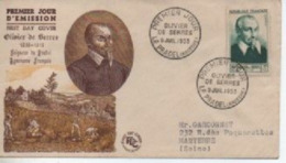 195 3      OLIVIER DE SERRES  TIMBRE N° YVRT ET TELLIER  946 - 1950-1959