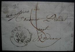 Lannilis 1836 (Finistère) Cursive Et Cad De Brest Sur Lettre Pour Bordeaux - 1801-1848: Precursors XIX