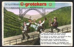 MÜNGSTEN Müngstener Brücke / Es Zogen 3 Burschen Die Wupper Entlang. Komische Karte - Solingen