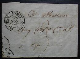 Eymet 1833 (Dordogne) Lettre Pour Agen, Lot Et Garonne - 1801-1848: Precursores XIX