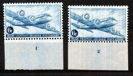 BELGIE - OBP Nr LP/PA 8 - Luchtpost/Poste Aérienne - Plaatnummer 1/2 MNH** (pl.nr 1: Gomvlekje/tache De Gomme) - Plate Numbers