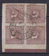 AUTRICHE - 20 H. Orange Papier Mince Mat En Bloc De 4 Oblitéré - Periódicos