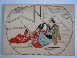 Japan Ukiyoe Woodblock Print Hishikawa Moronobu Liebespaar Aus Einer Serie Mit Erotischen Bildern Farbholzschnitt Couple - Sin Clasificación