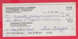 250276 / Union Bank & Trust Company , Evansville , Wisconsin , Chèque Cheque Check Scheck - Assegni & Assegni Di Viaggio