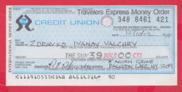 250277 / Cerdit Union Travelers Express Money Order , Chèque Cheque Check Scheck - Assegni & Assegni Di Viaggio