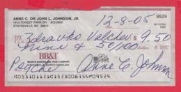 250278 / Branch Banking And Trust Company Statesville North Carolina , Chèque Cheque Check Scheck - Assegni & Assegni Di Viaggio