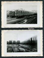 """2 Photos Richard Du Mont-Dore Légendées Au  Dos """" 7.11.1937 ETAT Nouvelle Voiture Du Métro Ligne Paris Sceaux """" - Metropolitana"""