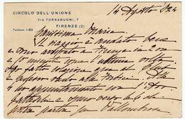 FIRENZE - CIRCOLO DELL'UNIONE - CARTOLINA POSTALE CON ANNULLO PUBBLICITARIO A TARGHETTA - 1924 - Vedi Retro - Firenze (Florence)