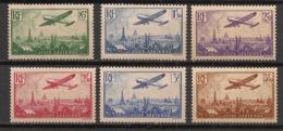 France - 1936 - Poste Aérienne PA N°Yv. 8 à 13 - Avion Survolant Paris - 6 Valeurs - Neuf Luxe ** / MNH / Postfrisch - 1927-1959 Ungebraucht